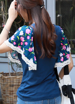 Tulip Print Butterfly Sleeve T-shirt, Styleonme