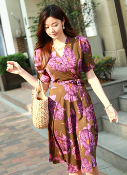 Ethnic Floral Print Wrap Style Dress, Styleonme