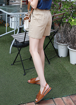 High-Waisted Linen-Blend Shorts, Styleonme