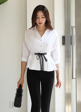 Lace Belt Set Shirt Style Collared Blouse, Styleonme