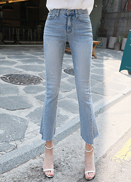 Asymmetrical Cut Hem Boot-Cut Jeans, Styleonme