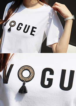 VOGUE Tassel Detail T-shirt, Styleonme