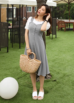 Gingham Check Print Long Flared Dress, Styleonme