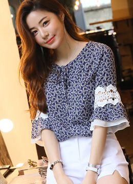 Chiffon Lace Bell Sleeve Patterned Blouse, Styleonme