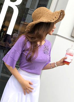 Flower Embroidered Flared Sleeve T-shirt, Styleonme