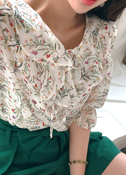 Floral Print Cold Shoulder Ribbon Blouse, Styleonme