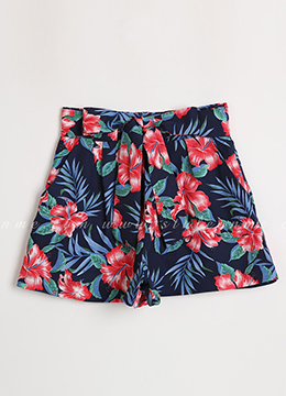 Tropical Floral Print Linen Shorts, Styleonme