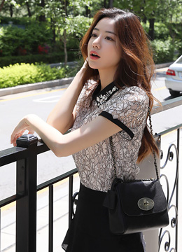 Jeweled Collar Floral Lace Blouse, Styleonme