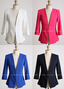 Pearl Sleeve Detail Collarless Jacket, Styleonme