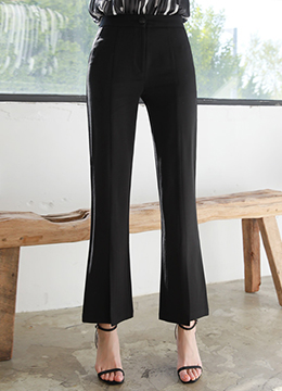 Front Slit Boot-Cut Slacks, Styleonme