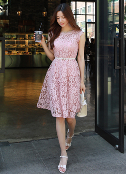 Romantic Pink Full Lace Flared Dress, Styleonme