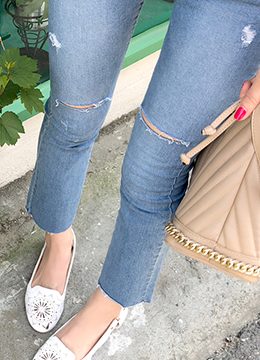 Raw Hem Slit Detail Boot-Cut Jeans, Styleonme