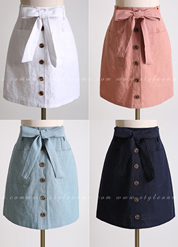 Linen Belted Button Skirt, Styleonme
