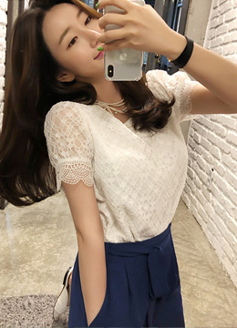 Romantic Lace Short Sleeve Blouse, Styleonme