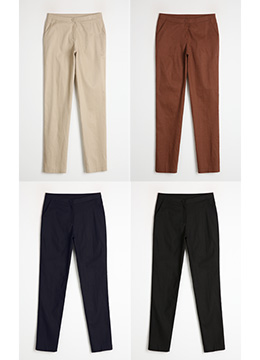 Linen-Cotton Blend Slim Fit Slacks, Styleonme