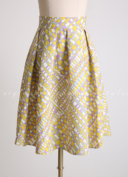Unique Patterned Linen Flared Skirt, Styleonme