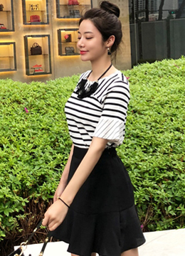 Flared Sleeve Stripe Tee, Styleonme