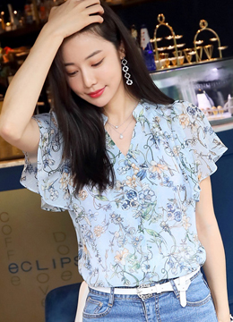 Floral Print Butterfly Sleeve Blouse, Styleonme