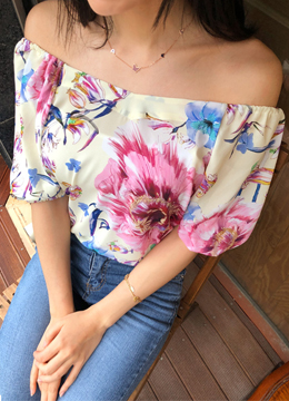 Floral Print Off Shoulder Blouse, Styleonme
