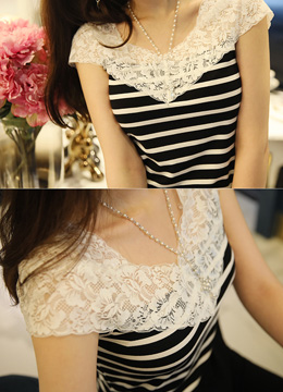 Floral Lace Detail Stripe Tee, Styleonme