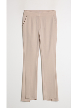 Asymmetrical Slit Hem Boot-Cut Slacks, Styleonme
