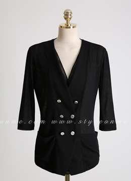 Double-Breasted Chiffon Collarless Jacket, Styleonme