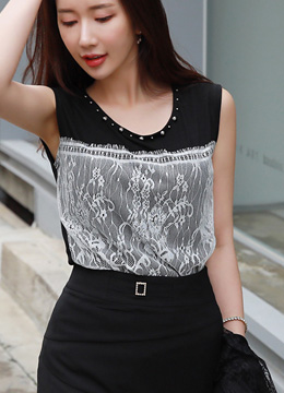 Studded Neckline Lace Detail Sleeveless Top, Styleonme