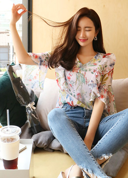 Summer Floral Print Ruffle Bell Sleeve Blouse, Styleonme