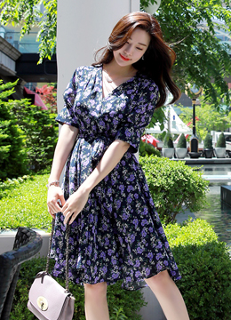 Purple Floral Print V-Neck Flared Dress, Styleonme