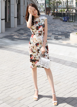 Perfect Shape Floral Print Dress, Styleonme
