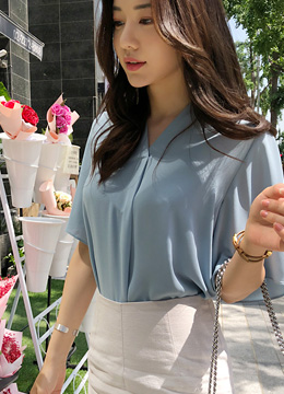 Angel Sleeve V-Neck Chiffon Blouse, Styleonme