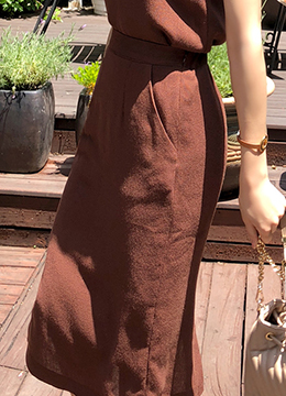 Natural Linen-Blend Long Skirt, Styleonme