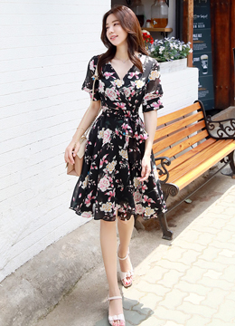 Pink Floral Print V-Neck Flared Dress , Styleonme