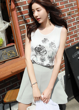 Blooming Rose Chiffon Sleeveless Blouse, Styleonme