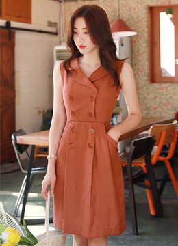 Double-Breasted Linen Collared Dress, Styleonme