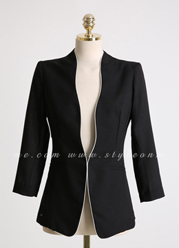 Scallop Trim Slim Fit Collarless Jacket, Styleonme