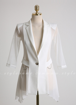 Sheer Chiffon Sleeve Slim Fit Collared Jacket, Styleonme