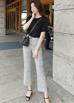 Check Print Linen Semi-Boot Cut Slacks, Styleonme