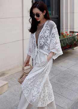 Lace Long Robe Cardigan, Styleonme