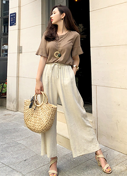 Natural Fit Linen Wide Leg Pants, Styleonme