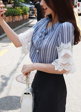 Pinstripe Lace Trim Sleeve Ribbon Blouse, Styleonme