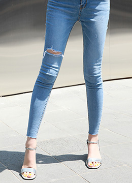 Slit Cut Light Blue Skinny Jeans, Styleonme
