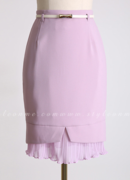 Chiffon Pleated Hem Belted Pencil Skirt, Styleonme