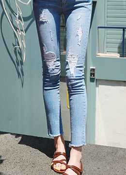 Destroyed Blue Wash Skinny Jeans, Styleonme