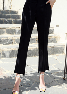 Step Hem Boot-Cut Slacks, Styleonme