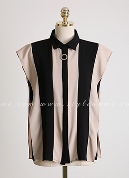 Silver Ring Accent Pinstripe Collared Blouse, Styleonme