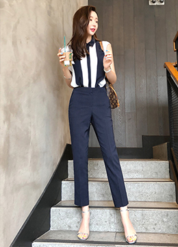 Side Slit Summer Straight Leg Slacks, Styleonme