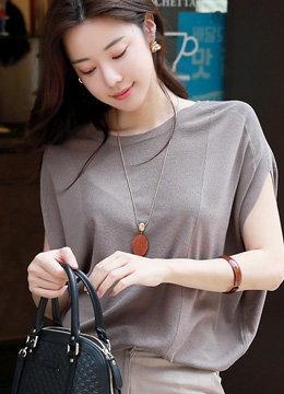 Natural Drop Shoulder Knit Top, Styleonme