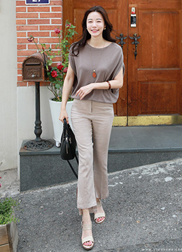 Lightweight Side Slit Semi-Boot Cut Slacks, Styleonme