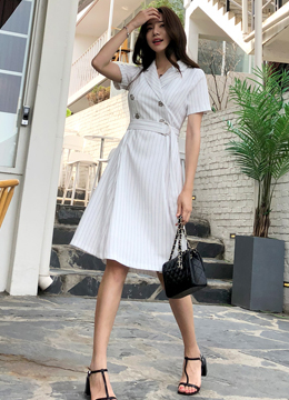 Pinstripe Double-Breasted Collared Dress, Styleonme